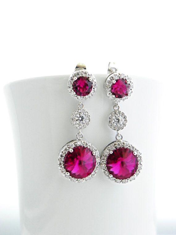 Hot Pink Swarovski Earring Fuchsia Bridal Earring by EstyloJewelry