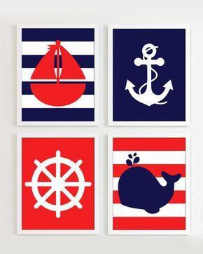 Impresiones náuticas  rojo y azul marino conjunto de 4