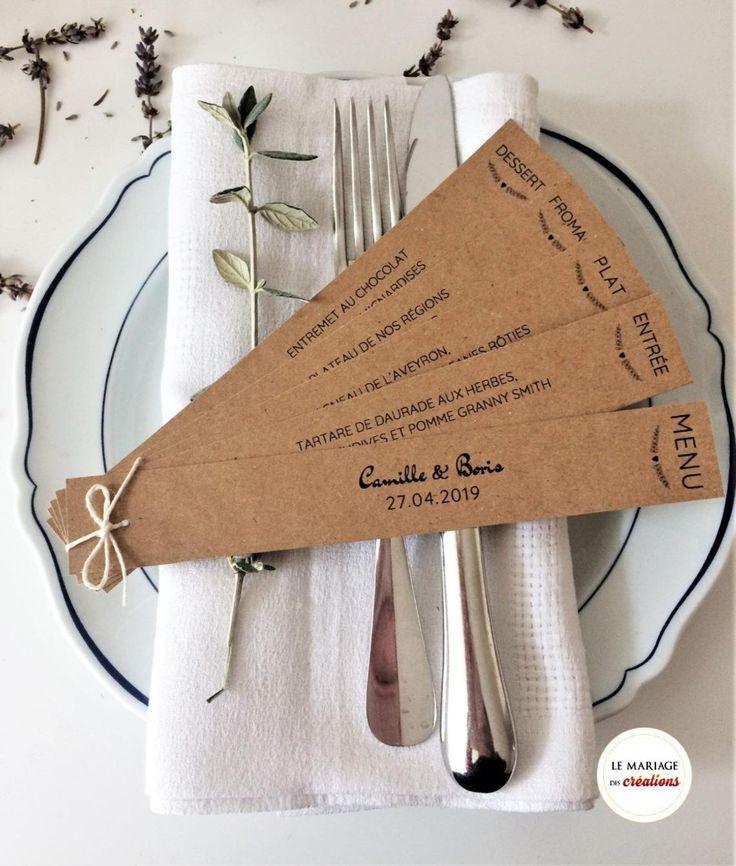 Menu éventail personnalisé, décoration de table mariage ou baptême, sur mesure, papier kraft ou blanc, avec satin ou ficelle
