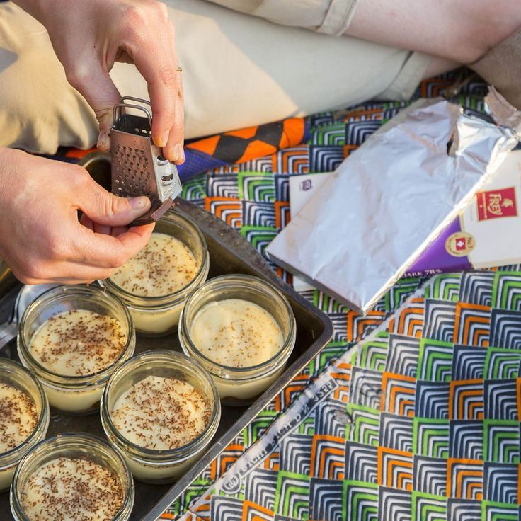 Cinnamon Milk Tarts in a Glass - Menu 3 from Sarah Graham's Food Safari - Episode 3 at Imire Game Reserve. #Chocolate #ChocolatFrey #UnicornOnSafari