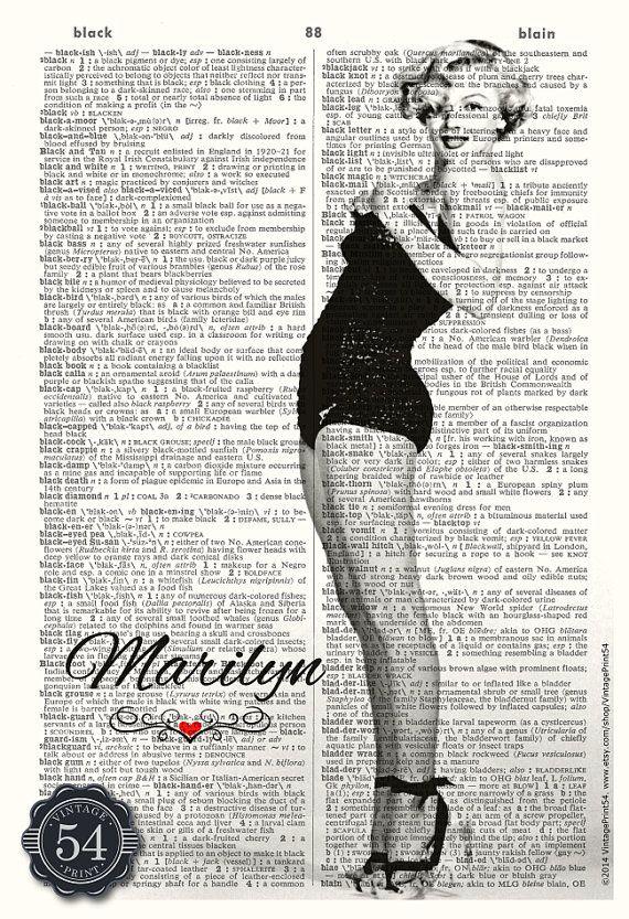 MARILYN MONROE ART Vintage Dictionary Art Print by VintagePrint54