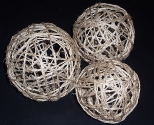 Twine Balls -- I saw these in a store selling for $20 a piece.  They are super easy and super cheap to make! I think u could use any color or kind of twine or ribbon