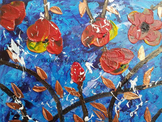 Original Textured Abstract floral Acrylic Impasto Palette Knife painting on 24 X 30 cm Gallery wrapped Deep edged canvas ready to hang