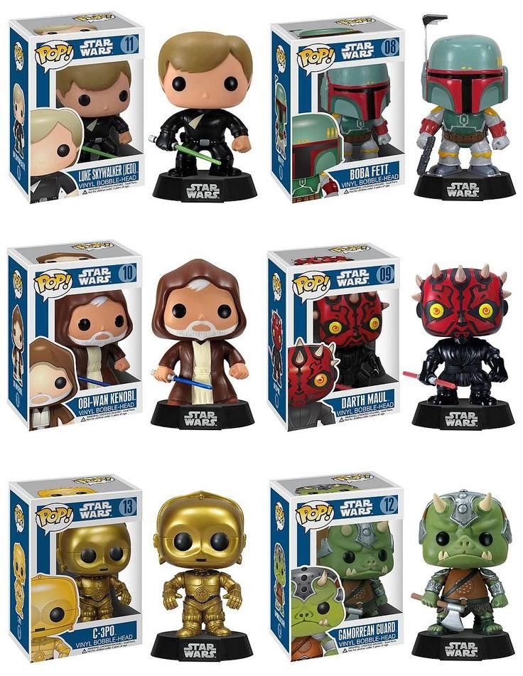 Star Wars Pop! Vinyl Bobble Heads Wave 2 - Jedi Luke Skywalker, Boba Fett, Obi-Wan Kenobi, Darth Maul, C-3PO & Gamorrean Guard