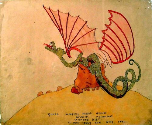 Henry Darger,Queer Winged, purple bellied Blengin: Outside Art, Naive Art, Unreal Henry, Queer Wings, Darger Dragon, Henry Darger, Professor Heart, Purple Belly, Art Brut