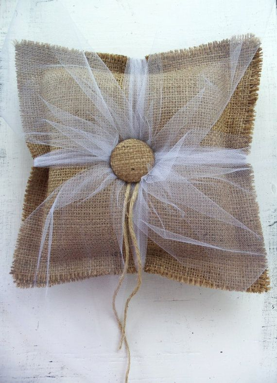 BURLAP Ring Bearer PILLOW Rustic Primitive by SophiasSignBoutique, $32.00 @Theresa Pritchard