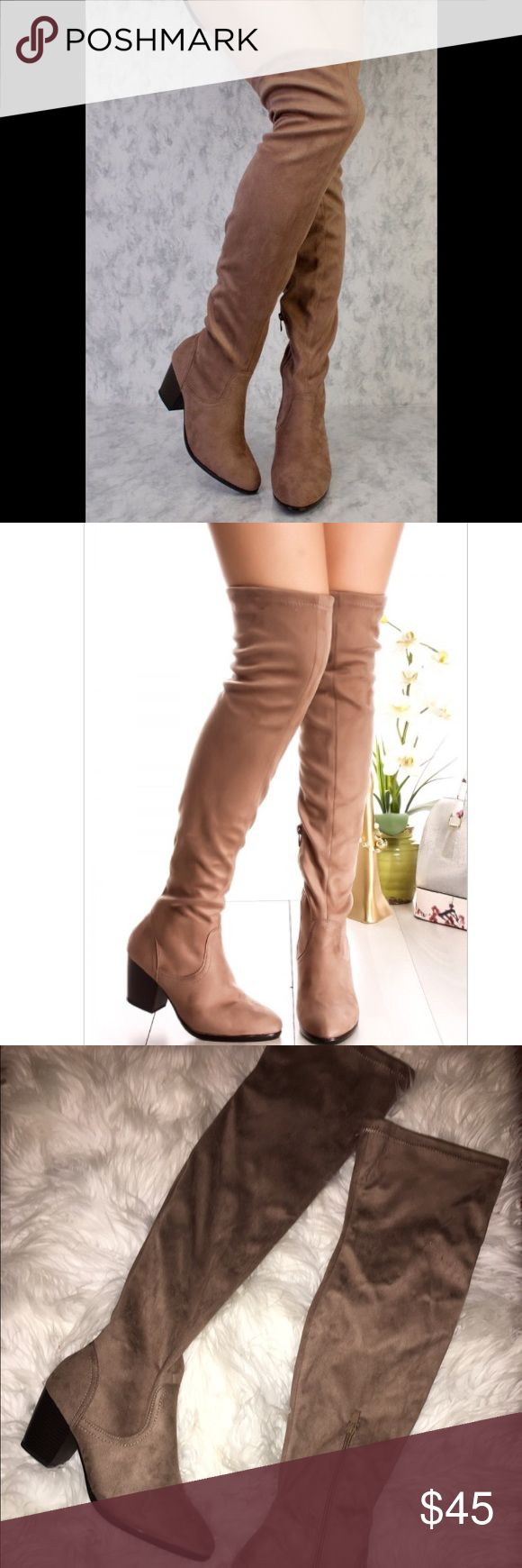 🎉SALE New Women's Taupe Suede Over The Knee Boots 🎉ITEM OF THE DAY!!! New Women's Suede Taupe Over The Knee High Boots   Taupe Suede  Heel (about 2 1/2 inches)  Above knee boots  Half Zipper on the side  Box is not included  Actual item is in 3-4th picture   ✔️Will ship between 1-3 days!!! ✔️Firm Price  ******Please READ before purchasing!!!*****  ANYTHING PURCHASED FROM NOVEMBER 17-22 WILL BE SHIPPED ON NOVEMBER 23. SORRY FOR THE INCONVENIENCE. :) Shoes Over the Knee Boots