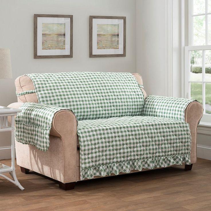 Innovative Textile Solutions Gingham Loveseat Slipcover, Med Green