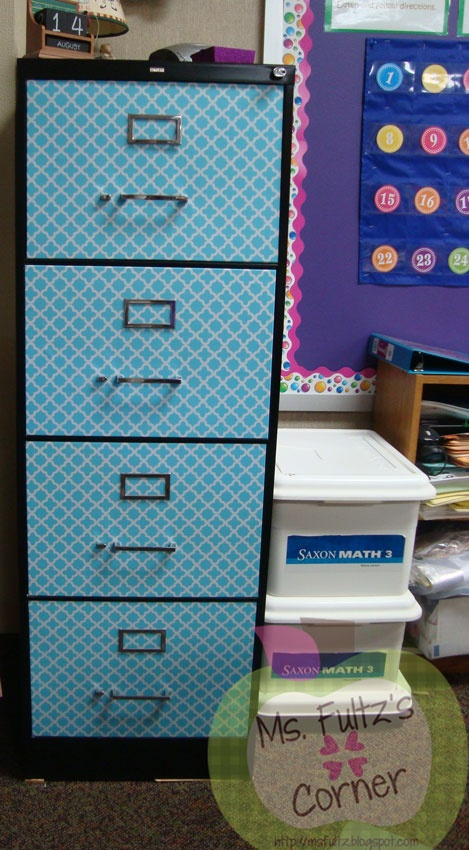 """Cute to do w/ in """"my project"""" room. :D DIY filing cabinet makeover with contact paper from Ms. Fultz's Corner"""