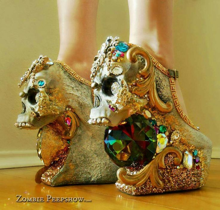Zombie Peepshow gold skull giant crystal platform shoes