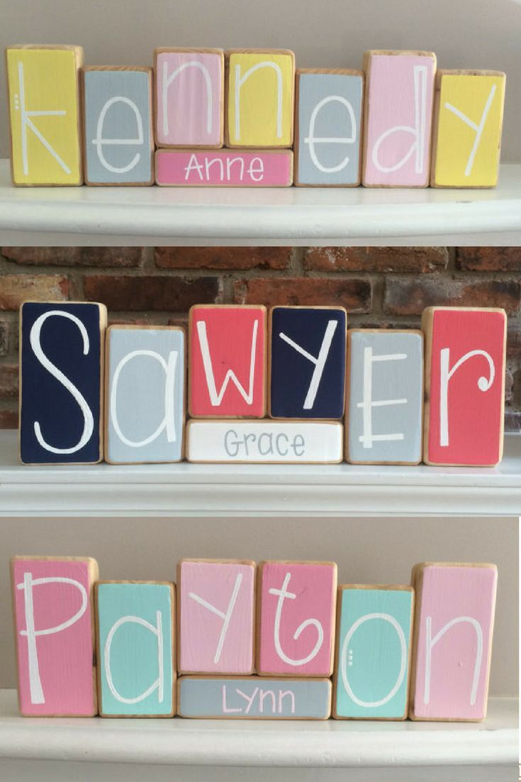 I'm so into the name nursery décor!  Are name blocks overkill?  Adding the middle name is so cute! And these start at only $9.00!