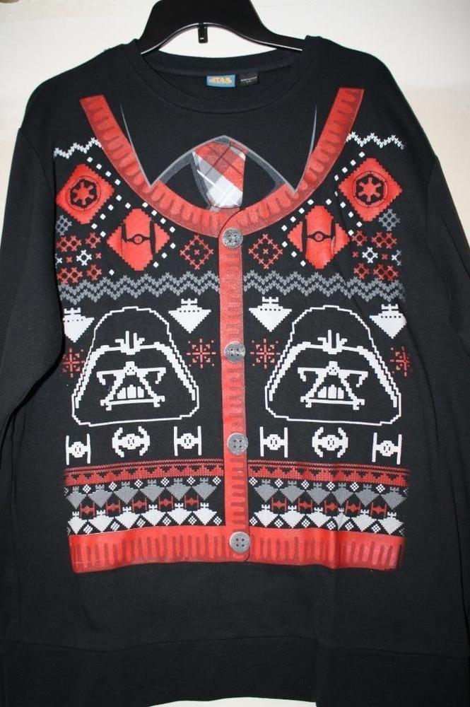 Star Wars Mens Ugly Christmas Sweater Sweatshirt Darth Vader & Tie Fighters New #StarWars #SweatshirtCrew