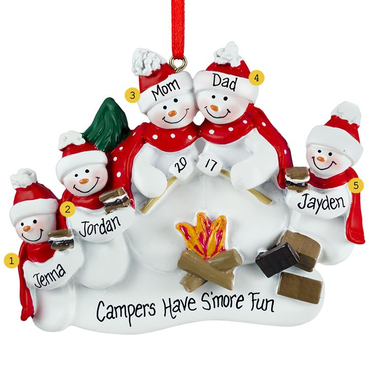 Personalized Snow Family Of 5 Roasting Marshmallows Ornament