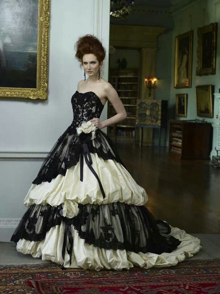 This would be lovely for a lady with tats to display .  Black and White Gothic Gown