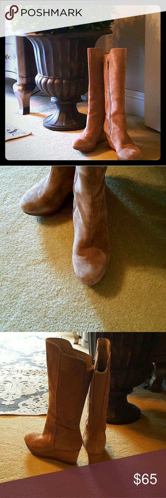 Tsubo Tan Suede Wedge Boots These wedge boots are great for transitioning into spring!  Wear with skinny jeans, tights & a dress or leggings. Only worn once, they are in near-perfect condition, with a few marks on the wedges as well as inside the boot shaft. tsubo Shoes Heeled Boots