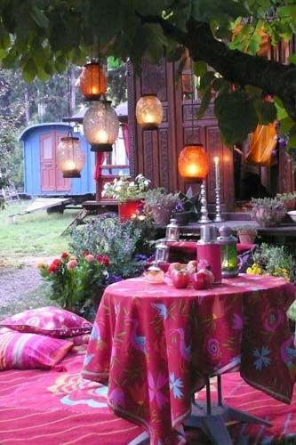 hanging lanterns + pink