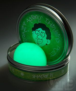 "Charge Glow in the Dark Thinking Putty by exposing it to a light source and it will radiate a bright green in darkness. Intensify the fun and record an object's silhouette onto the surface of the putty. Or use the optional black light keychain to draw, doodle, and write with light on the putty's exterior. Glow in the Dark Putty will also provide hours of ""daylight"" fun as it can be stretched, pulled, molded, bounced, and even ripped in half (and put back together again, of course!)."