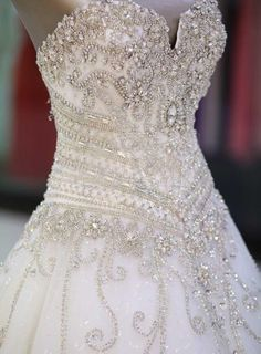 Sweetheart Rhinestone Appliques Cathedral Wedding Dress 4
