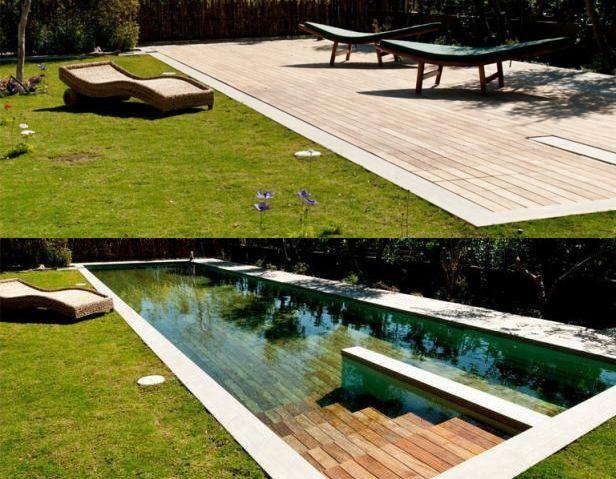 Een verborgen mechanisme laat de houten vloer tot een gewenste diepte zakken, waardoor je dus kan profiteren van de heerlijkheden van een zwembad - zonder daarbij aan bruikbaar tuinoppervlak in te hoeven leveren.