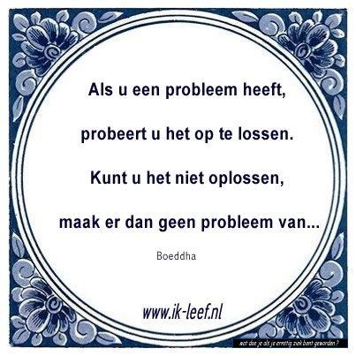 'Als u een probleem heeft, probeert u het op te lossen. Kunt u het niet oplossen, maak er dan geen probleem van.'