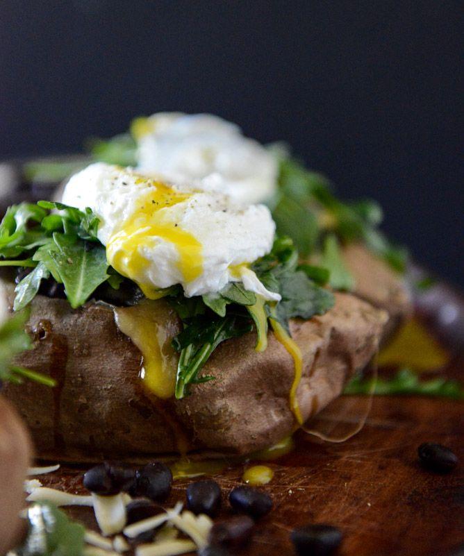 Cheesy Black Bean Stuffed Sweet Potatoes with Arugula + Poached Eggs I ...