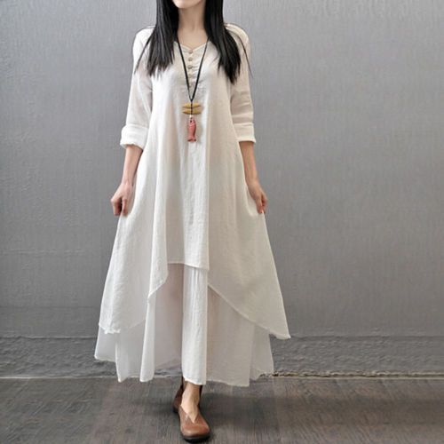 2016-Spring-Plus-Size-Women-Casual-Long-Sleeve-Cotton-Linen-A-Line-Shirt-Dress