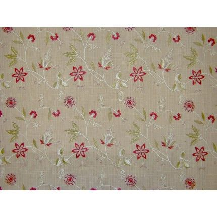 Red white floral curtain fabric<br />Images on screen cannot do the quality of this material justice. To see it fully please order a sample.