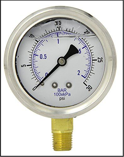 """LIQUID FILLED PRESSURE GAUGE, 2.5"""" DIAL DISPLAY, STAINLESS STEEL CASE, BRASS INTERNALS, 1/4"""" MALE NPT LOWER MOUNT CONNECTION, DUAL SCALE PSI & BAR (0-30 PSI)  GLYCERIN FILLED UTILITY GAUGE, 1/4"""" MALE NPT BOTTOM STUD, ::NOTE:: 1/4"""" MNPT MEASURES 0.505"""" LINEAR DIAMETER  STAINLESS STEEL CASE, BRASS INTERNALS AND CONNECTION, DUAL SCALE PSI & BAR  RATED FOR AIR / WATER / OIL / GAS AND OTHER MEDIA NOT CORROSIVE TO BRASS  AMBIENT TEMP 30F TO 160F - PLASTIC LENS - BUILT IN SNUBBER  2-1-2% SPAN..."""