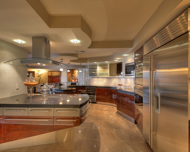 Wood Glass U0026 Stainless Steel Combine For A Great Space. Note The Curved  Bulkhead Matching