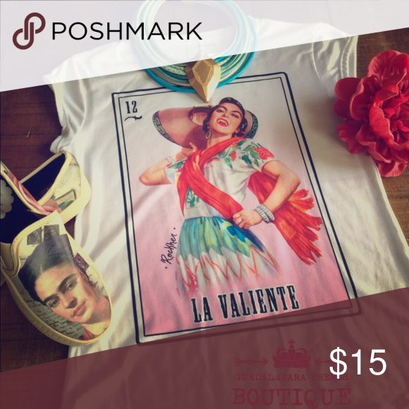 "Brand New Loteria Shirt ""La Valiente"" Available in SMALL & LARGE ... Limited Quantities Available! Guadalajara Trends Boutique Tops Tees - Short Sleeve"