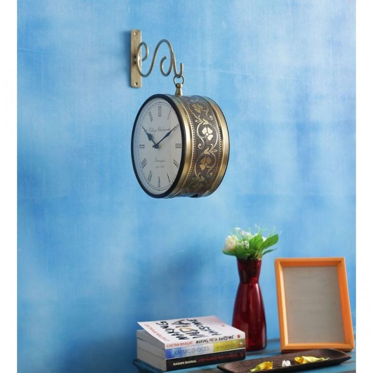 iron wall hanging vintage style station clock double sided