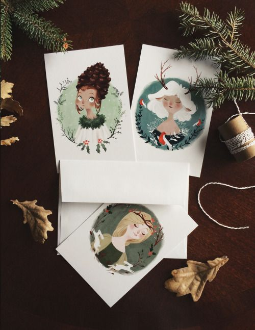 Holiday postcards are now available in my Etsy!