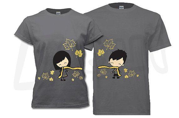 Coppia di t-shirt - suo e suo, foglie di acero di autunno tema del carbone di legna. Regali unici per San Valentino, anniversario, matrimonio, sposi novelli, luna di miele