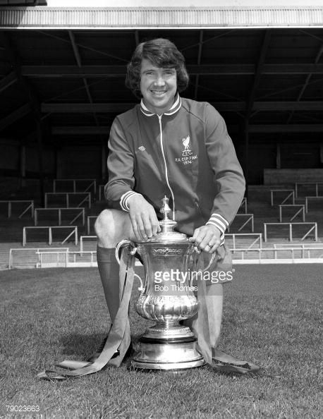 Sport Football England August 1974 Liverpool FC Photocall Liverpool FC's Chris Lawler is pictured with the FA Cup trophy that his side won against Newcastle United