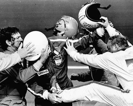 The start of it all.  1979 Daytona 500, Bobby Allison, Donnie Allison, and Cale Yarborough.  Richard Petty won.