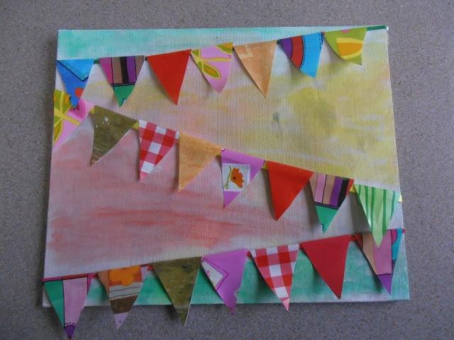 Van verschillende soorten stof een vlaggenlijn maken. Bij het prentenboek: nog 100 nachtjes slapen