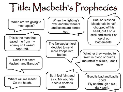 Prophecies lesson/activity Macbeth || Ideas and inspiration for teaching GCSE English || www.gcse.english.com ||