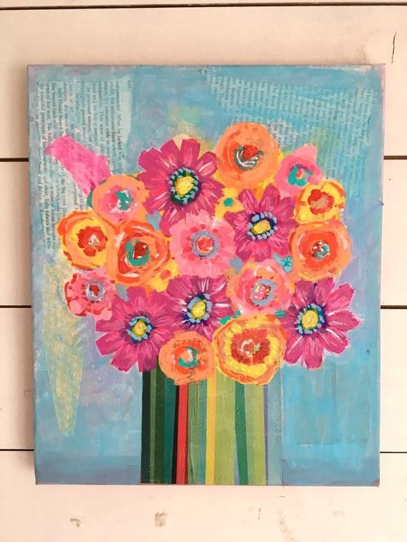 Bright Floral Canvas Fun Mixed Media Wall Art Rainbow Flower Etsy In 2020 Mixed Media Wall Art Rainbow Flowers Flower Canvas
