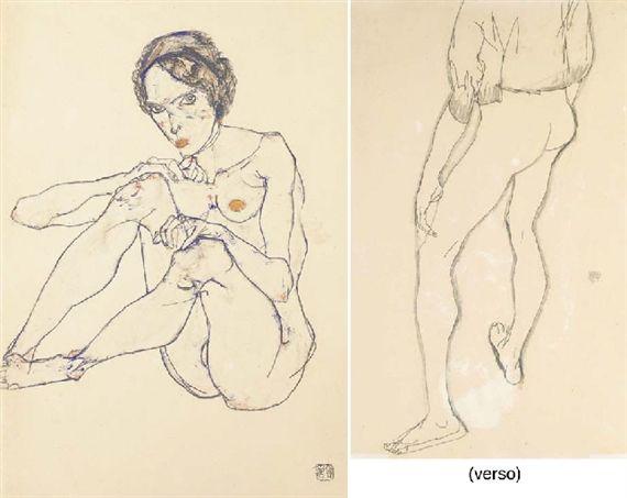 Egon Schiele, Sitzender weiblicher Akt (recto); Stehender männlichter Akt (verso)