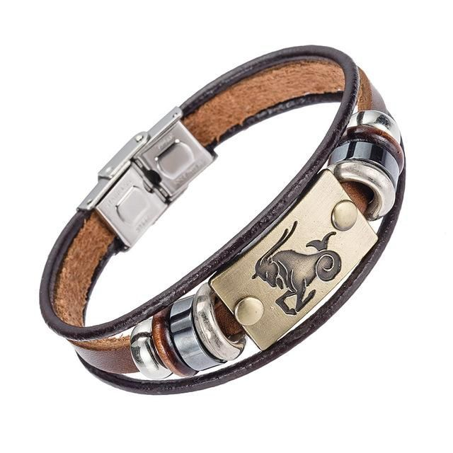 Zodiac Sign Leather Bracelets - Stainless Steel Clasp
