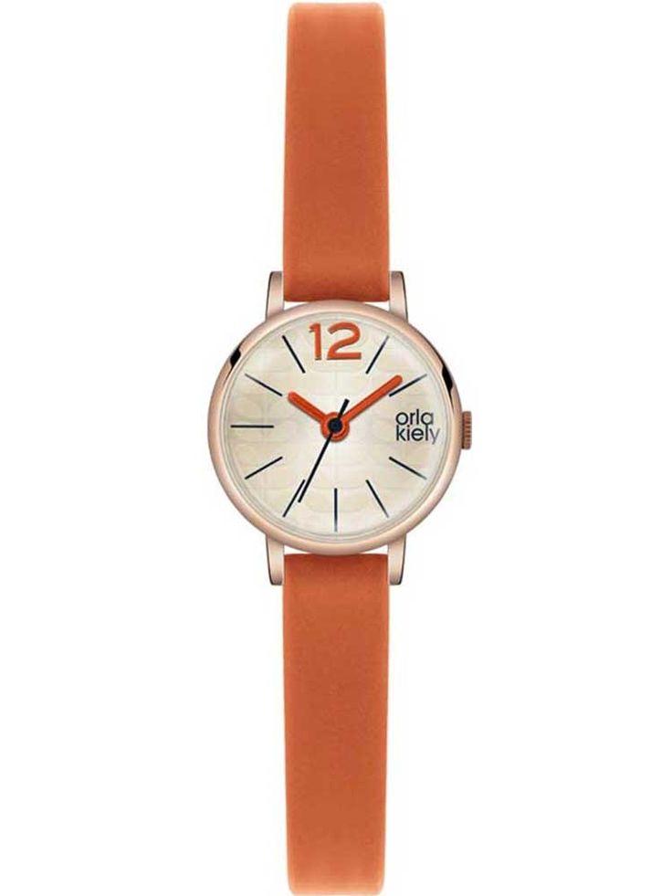 Orla Kiely Frankie Rose Gold Plated Orange Strap Watch OK2024