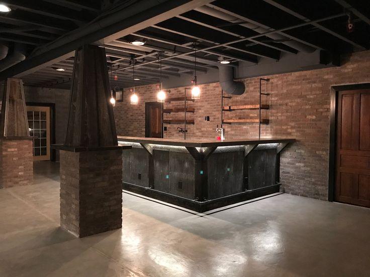 Elegant Industrial Basement Design