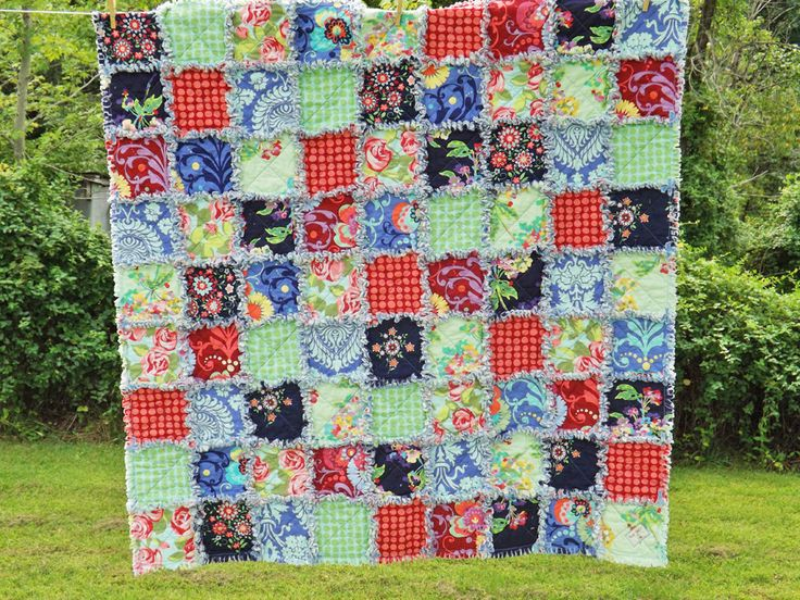 Lap Size Rag Quilt, Amy Butler Fabrics, Love Collection, Bright Colors Quilt, Patchwork Quilt, Floral Rag Quilt, Handmade Quilt by RagQuiltsbyJulie on Etsy