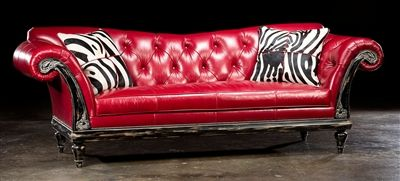 Red hot leather sofa. Luxury bedroom furniture