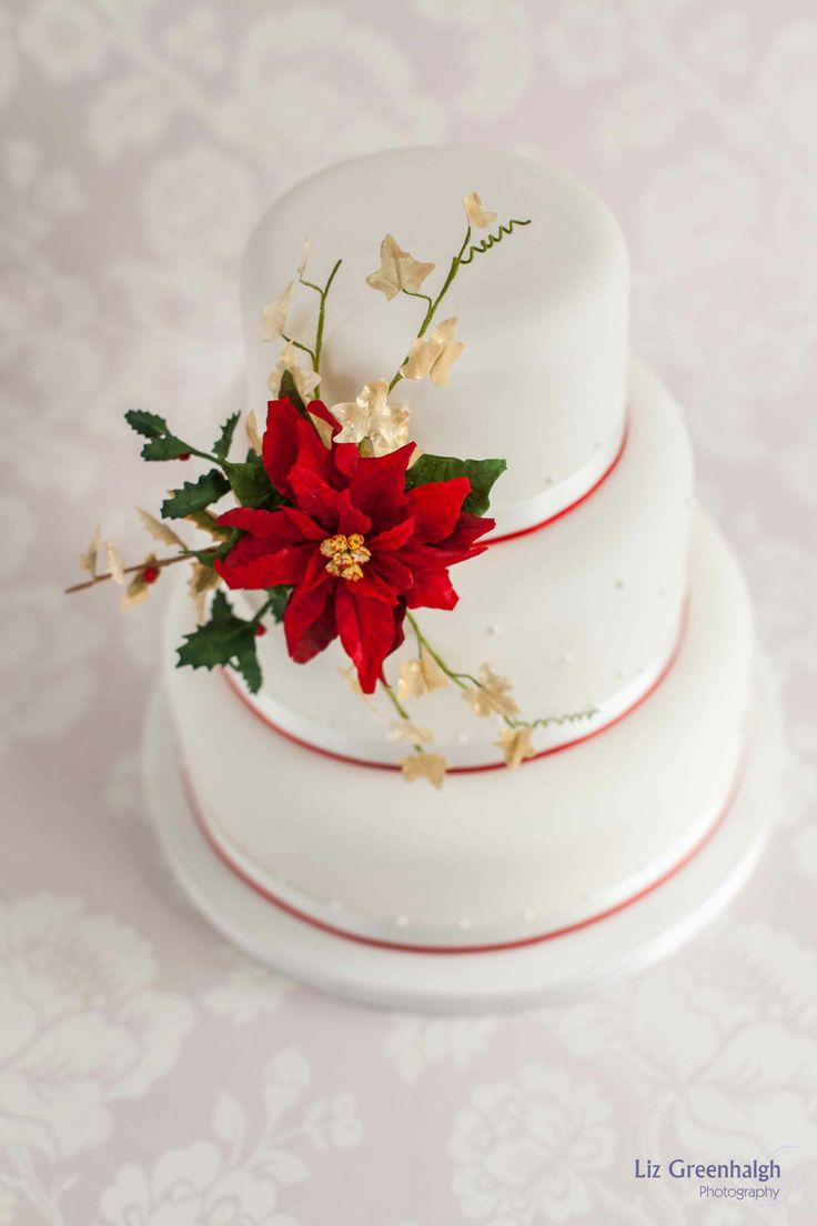 Poinsettia Wedding Cake Poinsettias Pinterest Posts