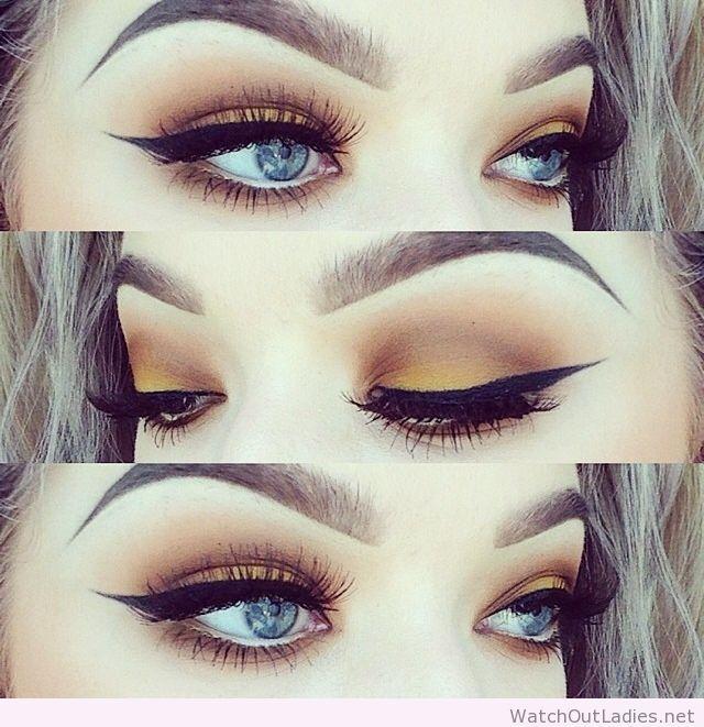 Yellow eye makeup for blue eyes