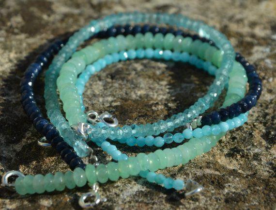 Handmade beads bracelet, beaded bracelet, sapphire bracelet, aquamarine bracelet, jade clear bracelet, emerald bracelet, gemstone beads bracelet, hand made bracelet