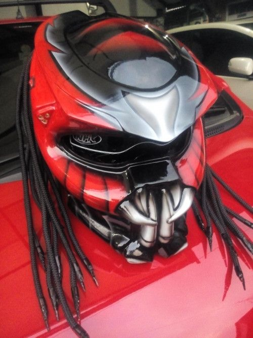 CELLOS PREDATOR HELMET MOTORCYCLE RED COLOR - DOT APPROVED - SIZE S-M-