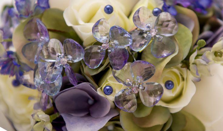 Acrylic Flower Gems with Subtle Light Blue Tint Add Sparkle and Charm