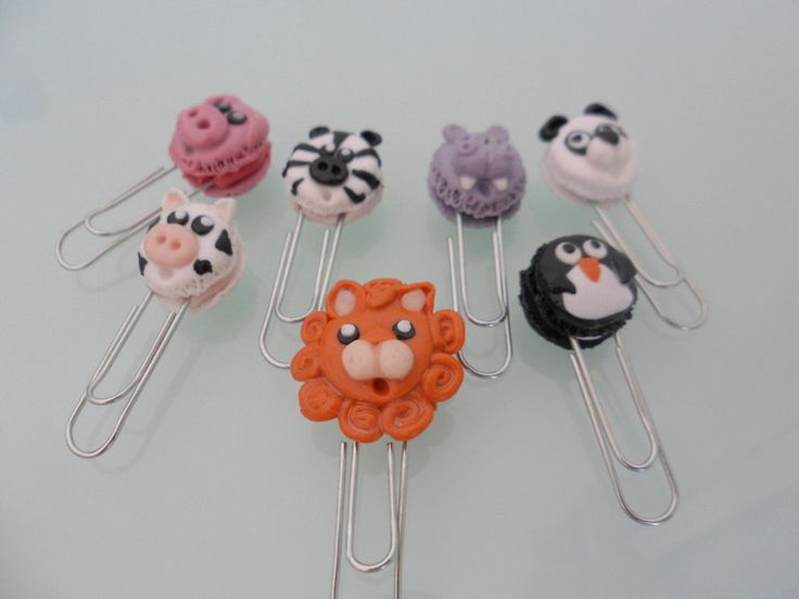 Choose your Pet Macarron paperclips Polymer Clay, lion, pig, bear, cow, penguin, hippo or zebra by TheWonderfulClay on Etsy